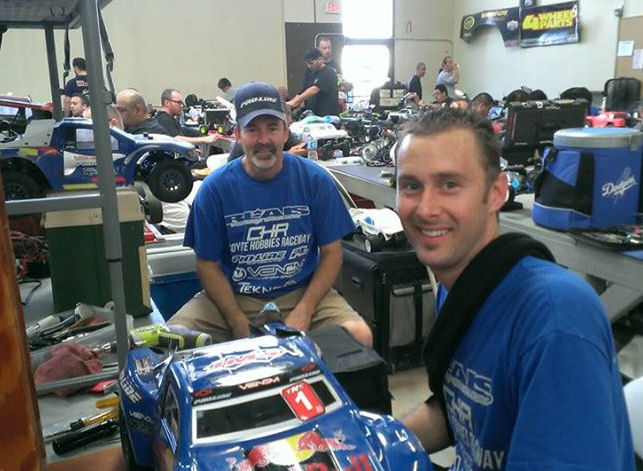 Nick and Martin Blais hanging out in the pits.
