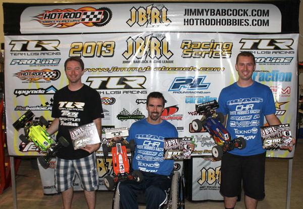 JBRL Round 6 1/8th Scale Podium.  Chris Blais takes the win!