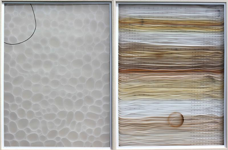Joan Belmar, LIke Bubbles #1 & White Frosted, 2013, acrylic, ink, mylar, wood & vinyl on plywood, 40 x 30 inches each