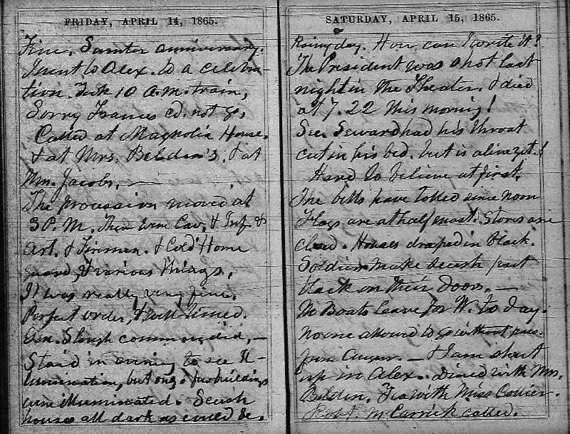 Wilbur diary page