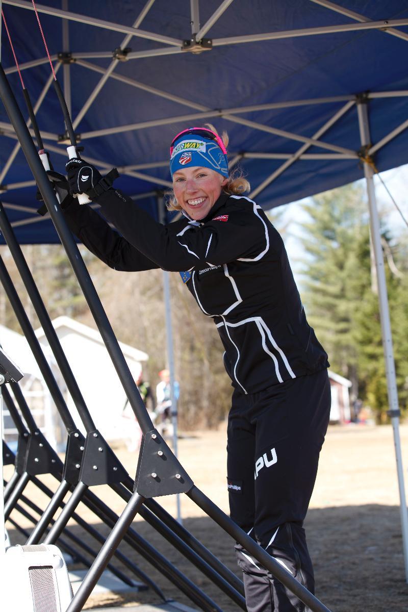 Kikkan Randall on Ski Erg