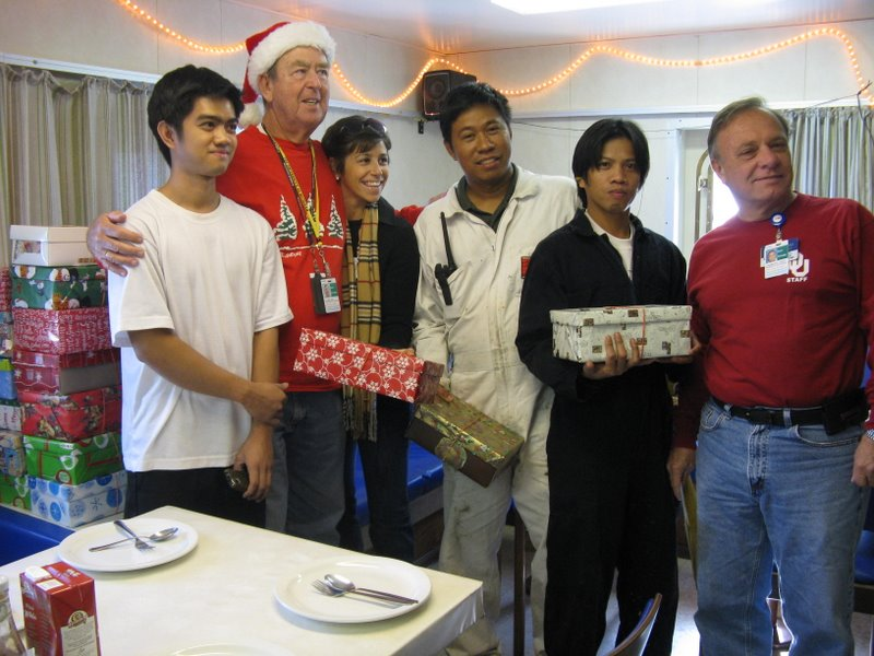 Shoebox Volunteers aboard ship