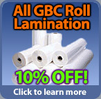 Save 10 percent on GBC roll lamination film in August