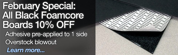 February Special - 10 percent off all black foamcore boards