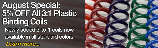 August Special: 5% OFF All 3:1 Plastic Binding Coils