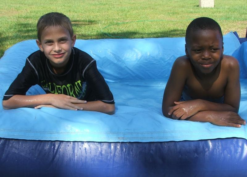 boys water slide
