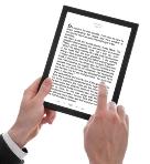 Ebook with hands