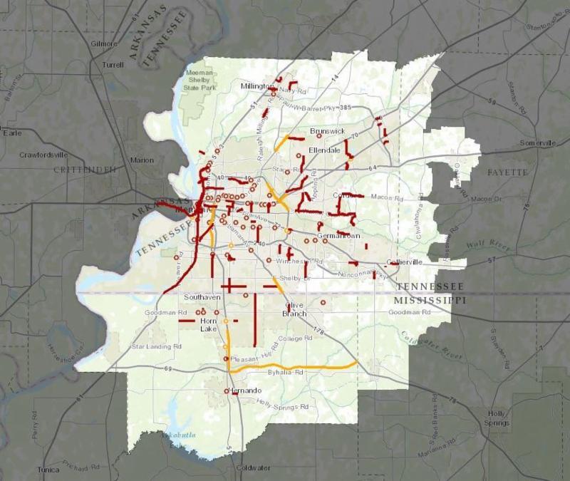 Memphis regional map