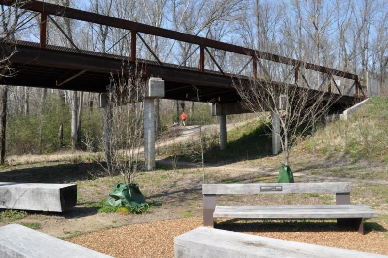 park bench and bridge