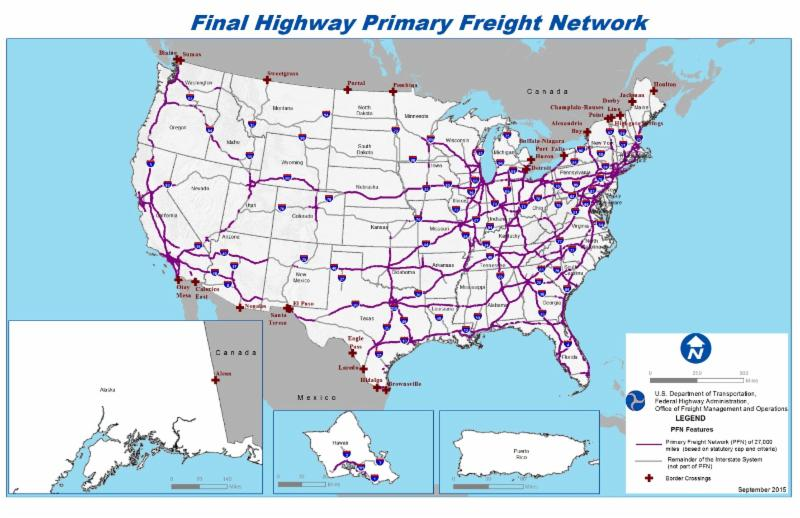 US map of freight highways