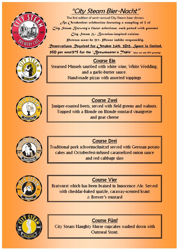 October 24th Bier Nacht Menu
