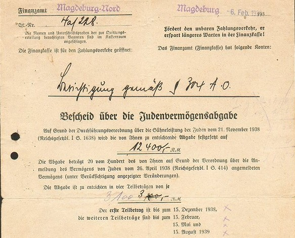 Post  Kristallnacht Document