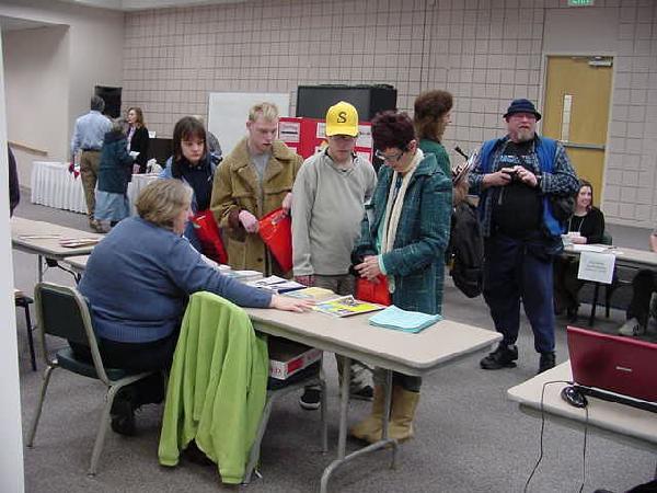 sharing information at the Transition Fair