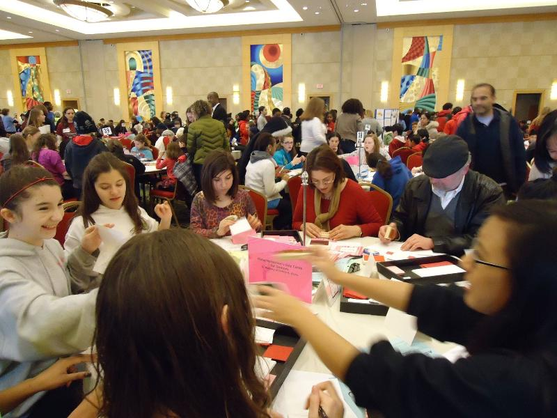 Volunteers Make Valentine Cards