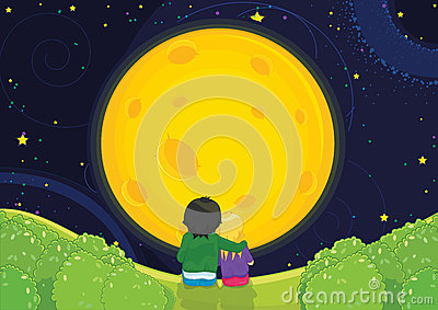 Kids sitting under the moon