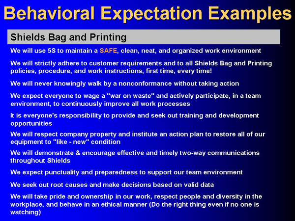 Shields Behavioral Expectations