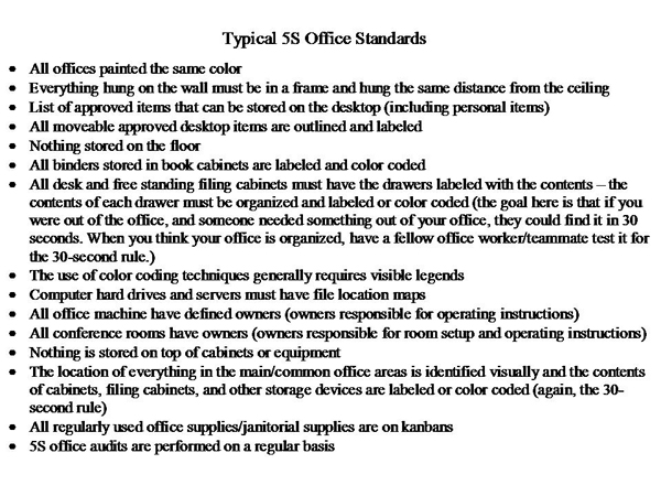 Typical 5S Office Guidelines