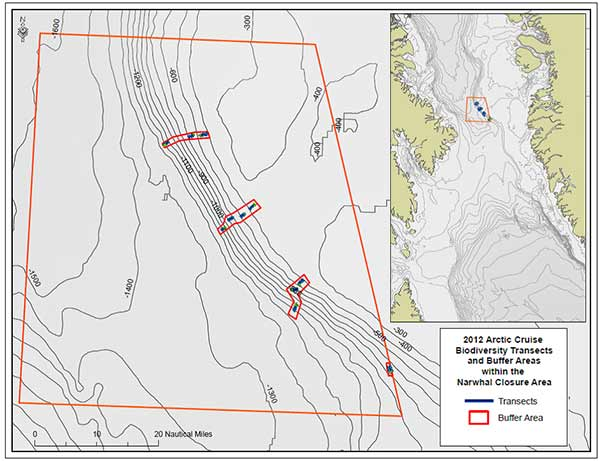 Location of the Biodiversity Monitoring Sites in the Canadian Narwhal Over-wintering and Deep-sea Coral Closed Area in NAFO Division 0A.