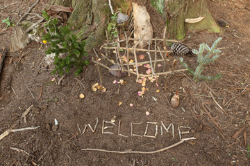 The welcome sign is out at this fairy house.