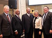 Willem Kooyker, MENTOR; Rev. Dr. Wilson Goode, Amachi Program; Congressman Chaka Fattah; Melodee Hanes, OJJDP; David Shapiro, MENTOR)