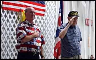 Bob Proud and WW2 Army veteran Charlie Bailey.Star Spangled Banner.CountyFair2016