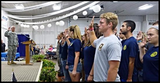 Recruits sworn in by Congressman Westrup during ceremony at Fair, 2015.