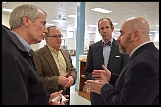Sen. Rob Portman visits the CASC Jan. 26, 2016. Portman, Chief Deputy Chris Willis, Commissioner David Uible, Gregg Pieples