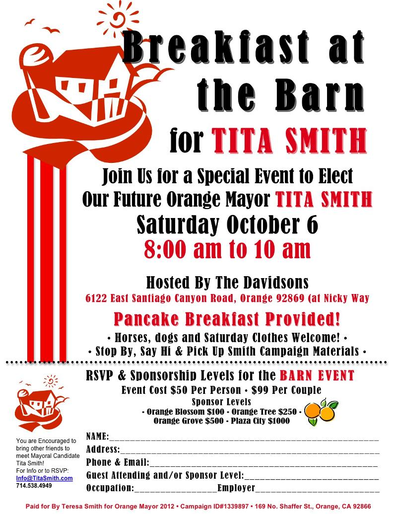 Breakfast At The Barn Event Flyer