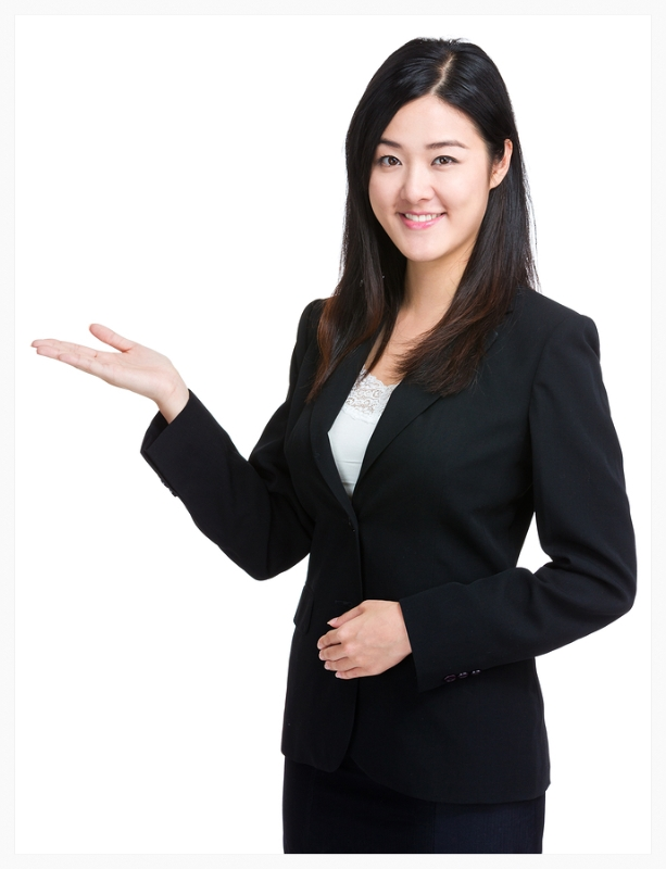 Business woman with open palm