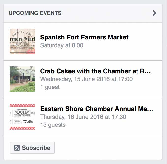 Facebook Upcoming Events