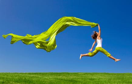 Joyous woman Running
