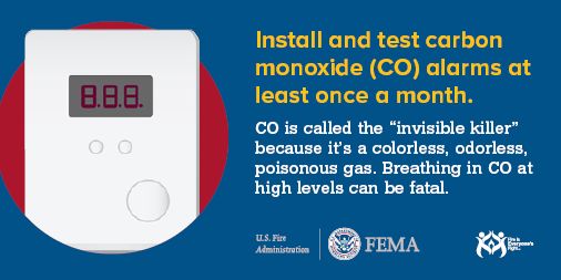 Carbon Monoxide alarms should be tested once a month