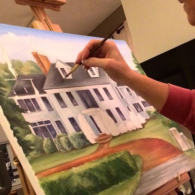 Work in progress, custom house portrait oil painting by Renee MacMurray, MacMurrayDesigns.com info@macmurraydesigns.com 781.740.0050