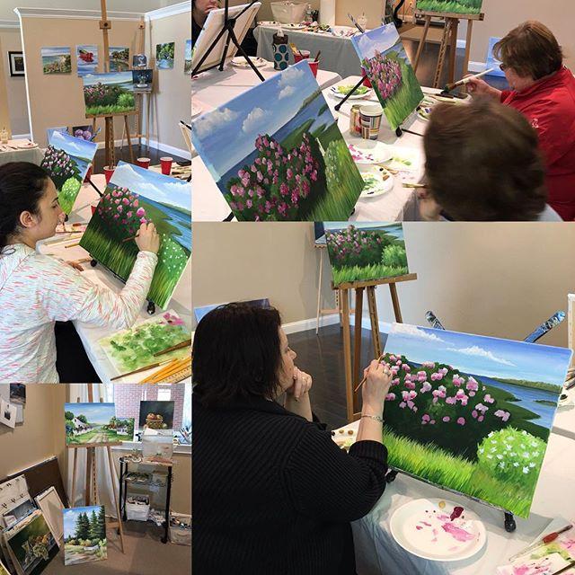 Today's Saturday Morning Beginner Acrylic Painting Class at MacMurray Designs, work in progress - great job everyone! #macmurraydesigns #reneemacmurray #artclasses #hanoverma #nantucket #marthasvineyard #capecod #flowers #landscapeart #originalart #teachi