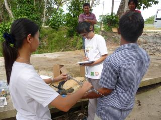 Dr. Chan's team working by the Setiu River
