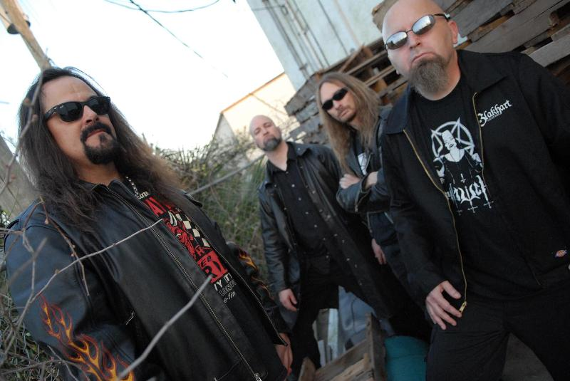 DEICIDE is (from L-R in above photo): Glen Benton (vocals and bass), Kevin Quirion (guitars), Steve Asheim (drums) and Jack Owen (guitars).