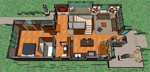 Not So Big Bungalow main level plan