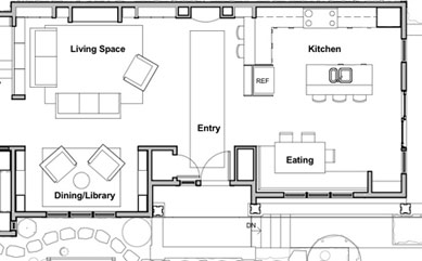 Showhouse library alcove and kitchen floor plan