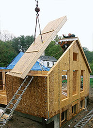 A house being constructed with SIPs