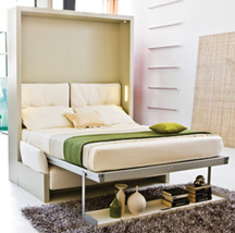 Murphy bed in the down position