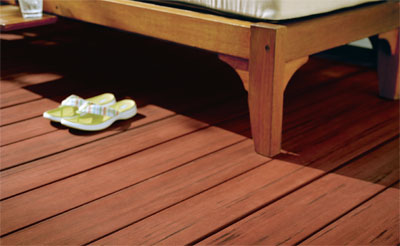 stained deck closeup