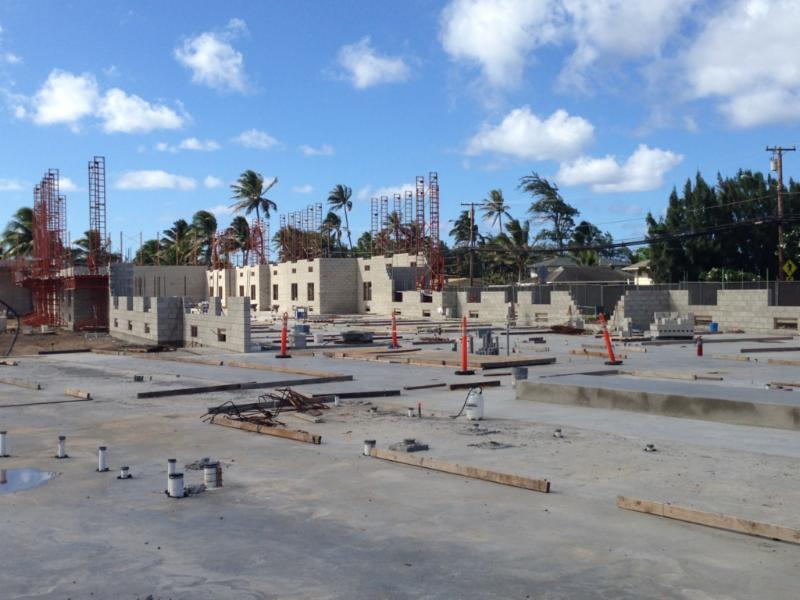 View of construction facing towards Laie Point