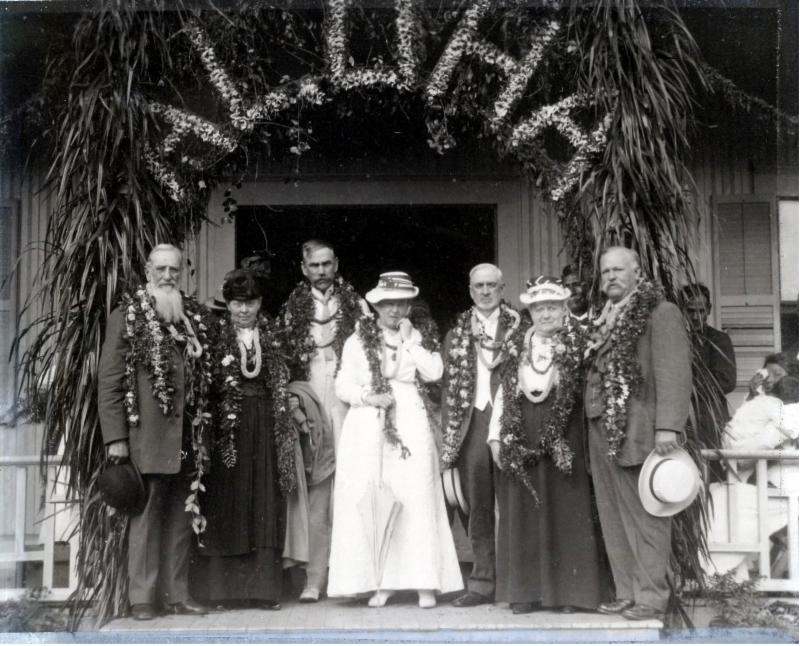Pres. Joseph F. Smith, Senator Reed Smoot, W. Charles Nibley and their wives, along with Samuel E. Wooley (far right) at the Laie Social Hall on Loala St. (Courtesy of BYU-Hawaii Archives)