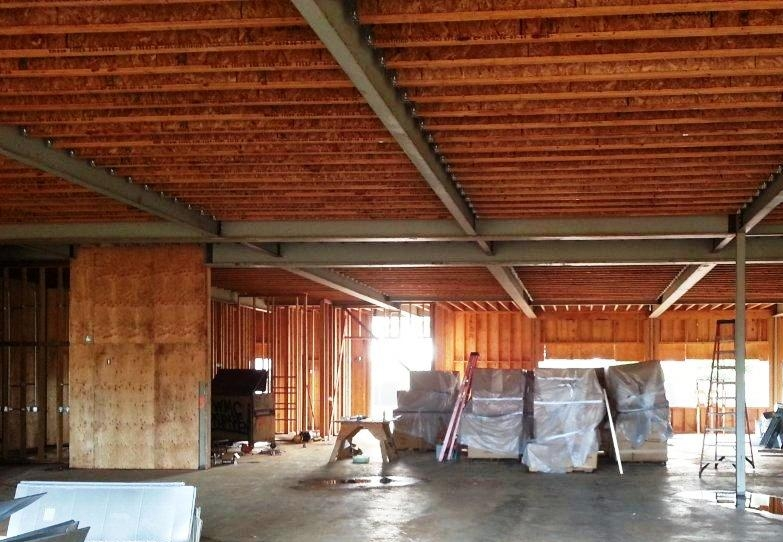 Framing underway for lobby interior