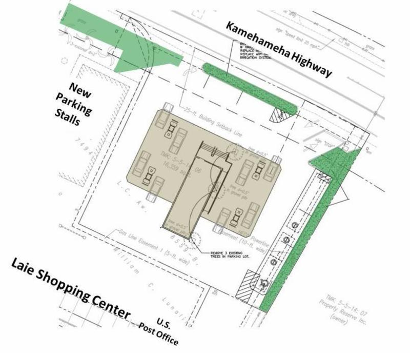 Aloha / Foodland gas station layout (fuel station canopy and convenience store in brown)