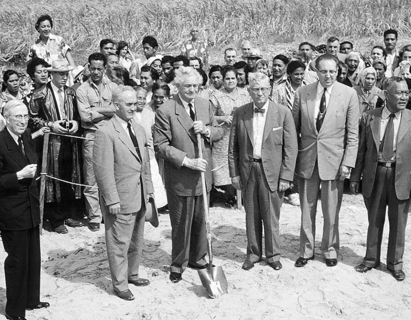 Church College of Hawaii groundbreaking, February 12, 1955 (Courtesy BYU-Hawaii Archives)
