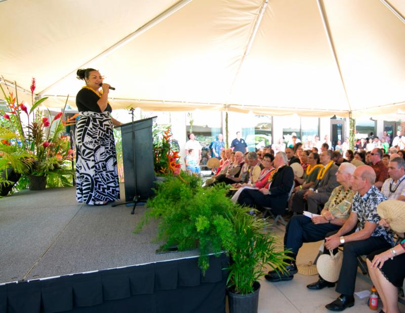 Laie's own Sia Tonga was the Mistress of Ceremonies for the dedication program