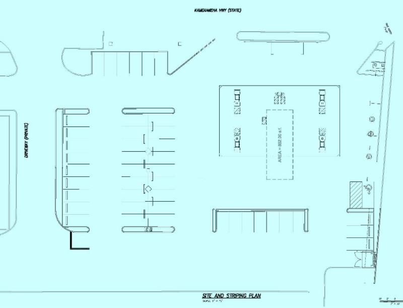 Site and striping plan for the south end of Laie Shopping Center