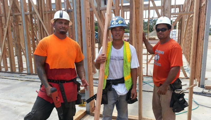 Aisa Wily and fellow carpenters at the hotel project site