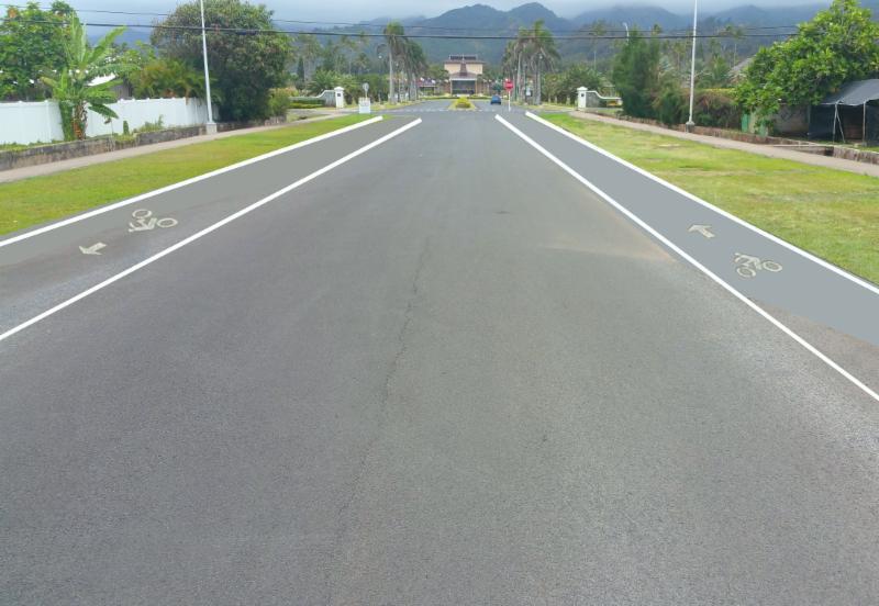 Conceptual digital rendering of Kulanui bike lanes striping